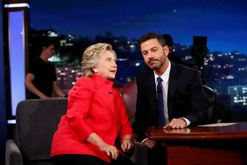 Democratic presidential nominee Hillary Clinton tapes an appearance on the Jimmy Kimmel Show in Los Angeles, California