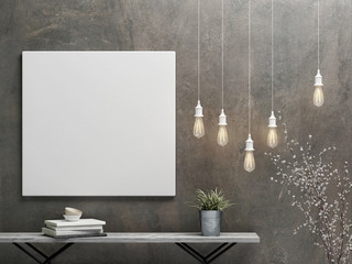 mock up poster with vintage  hipster minimalism  interior concept background, 3D rendering, 3D illustration