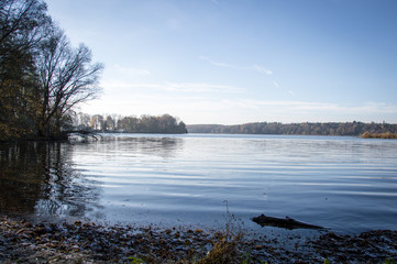 Idyllic view of Havel in Grunewald, Havelhöhenweg, Berlin