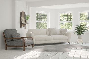 White modern room with sofa and green landscape in window. Scandinavian interior design. 3D illustration