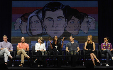 "Thompsonn, Benjamin, Walter, Tyler, Parnell and Greer participate in the panel for ""Archer"" in Beverly Hills"