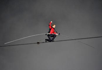 Tightrope walker Wallenda walks the high wire over the Horseshoe Falls in Niagara Falls