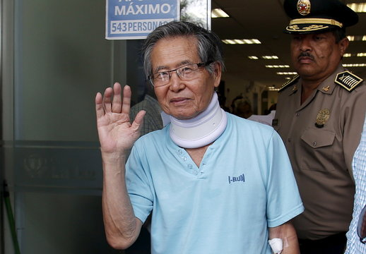 Peru's former President Alberto Fujimori leaves the clinic where he was transferred from his prison cell to undergo neurological tests after feeling dizzy and briefly losing the strength in his legs, his doctor said, in Lima