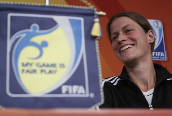 Garefrekes of Germany's women's soccer team coach attends a news conference in Moenchengladbach