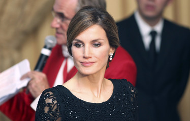 Spain's Crown Princess Letizia returns to her seat at the 125th Gala Dinner of the Spanish Chamber of Commerce in Great Britain at the Landmark Hotel in London