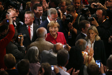 German Chancellor Merkel arrives for CDU election campaign rally in Berlin