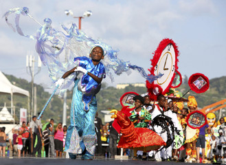 Children participate in the Red Cross Children's Carnival competition at Queen's Park Savannah in Port of Spain