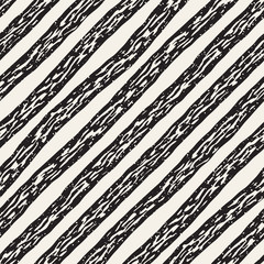 Decorative seamless pattern with handdrawn doodle lines. Hand painted grungy stripes background. Trendy endless freehand texture