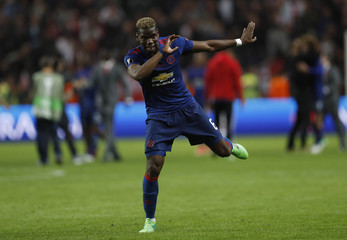 Manchester United's Paul Pogba celebrates after winning the Europa League