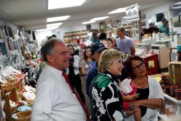 Democratic presidential nominee Hillary Clinton campaigns with vice presidential nominee Senator Kaine at Grandpa's Cheesebarn in Ashland