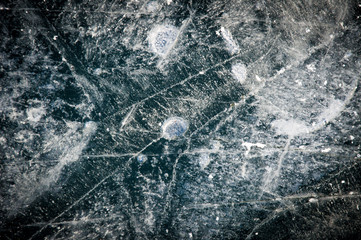 Abstract ice texture with air bubbles