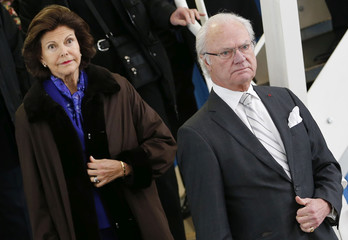 Sweden's King Carl XVI Gustaf and Queen Silvia visit the final assembly line of Airbus A350 at the Airbus headquarters in Toulouse