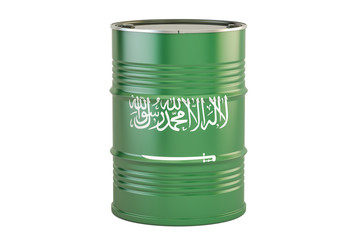 Oil barrel with flag of Saudi Arabia. Oil production and trade concept, 3D rendering
