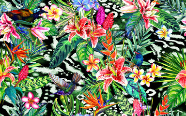 Seamless tropical floral pattern. Hand painted watercolor exotic leaves, flowers and birds, on animal print background. Textile design.