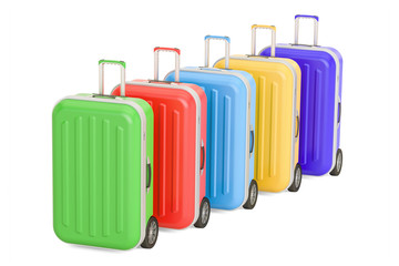 Row of luggage, colorful suitcases. 3D rendering