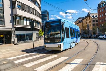 Modern blue tram in Oslo