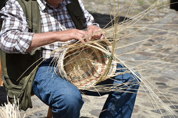 Craftsman interlaces bamboo basket , Craft work