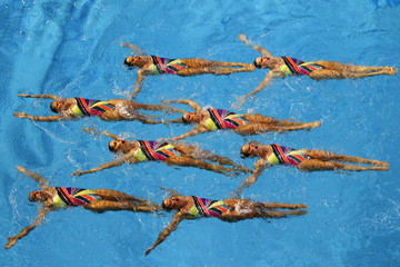 Members of Brazil's team perform during the synchronized swimming preliminaries at the Pan American Games in Guadalajara