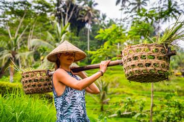 Azja Praca ryż dziewczyna