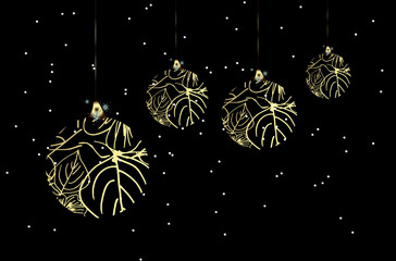 Merry Christmas and Happy New Year Greeting card. Shiny Gold Christmas Baubles with Sequins. Vector illustration. Black background with Snowflakes. Wallpaper.