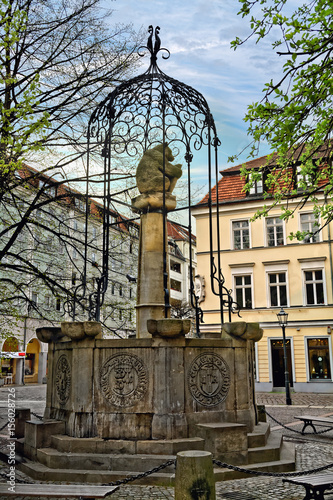 Fountain With A Sculpture Of A Bear Symbol Of Berlin In