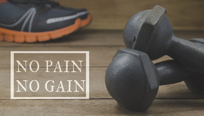 dumbbells and running shoes on wooden floor with the word 'No Pain No Gain' graphic