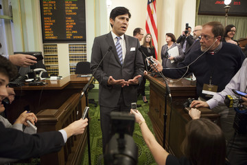 Senate President pro tem Kevin de Leon speaks to reporters after Gov. Jerry Brown's historic fourth inauguration at the State Capitol in Sacramento