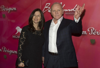 "Actor Sir Anthony Hopkins and his wife Stella Arroyave arrive for the 16th annual Keep Memory Alive ""Power of Love Gala"" and 70th birthday celebration for Muhammad Ali at the MGM Grand Garden Arena in Las Vegas"