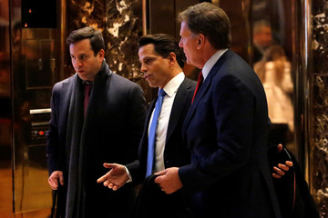 Businessman Anthony Scaramucci and news anchor Joe Kernen exit Trump Tower in Manhattan, New York