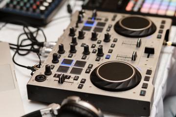 Dj equipment. Mixer.