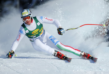 Italian skier Werner Heel in action to a fifth place finish during the Men's World Cup Super-G race in Lake Louise
