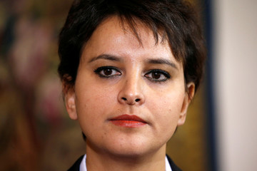 French Education Minister Najat Vallaud-Belkacem reacts after a meeting with student union leaders on the labour law proposal at Hotel Matignon in Paris