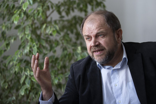 Klimyuk, COO of the company Icon Genetics, speaks during an interview in a laboratory in Halle