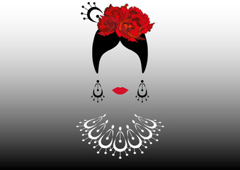 Portrait of modern Latin or Spanish woman, Lady with necklace crafts and red flowers , Icon isolated, Vector illustration