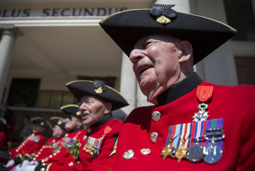 Chelsea Pensioner Harry Atkins displays his medals after being awarded the Legion d'honneur during Founder's Day Parade at the Royal Hospital Chelsea in London