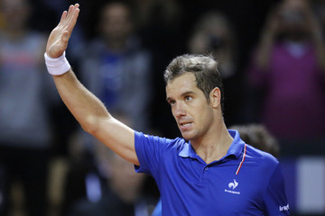 French player Gasquet reacts after defeating Australia player Kyrgios during their Davis Cup world group first round tennis match in France