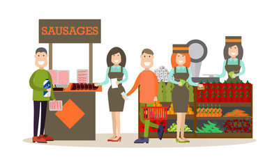 People buying groceries vector illustration in flat style.