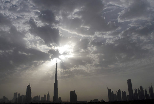 The Dubai skyline with Burj Khalifa is seen during the late afternoon from the Sheikh Zayed highway