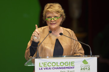Joly, Europe Ecologie-Les Verts Green Party candidate for the 2012 French presidential election attends a political campaign rally in Paris
