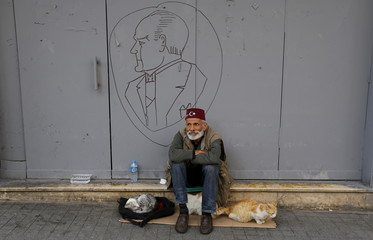 A man, with a drawing of modern Turkey's founder Ataturk in the background, sits with his cats at the main shopping and pedestrian street of Istiklal in central Istanbul, Turkey