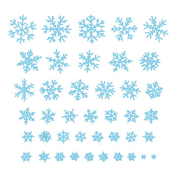 Set of different hand-drawn snowflakes