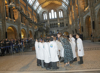 Britain's Catherine, Duchess of Cambridge speaks with pupils from Oakington Manor Primary School, in front of Dippy the Diplodocus, as she attends a children's tea party to celebrate Dippy's time in Hintze Hall at the Natural History Museum in London