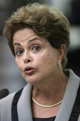 Brazil's President Dilma Rousseff reacts during a news conference at the Planalto Palace in Brasilia