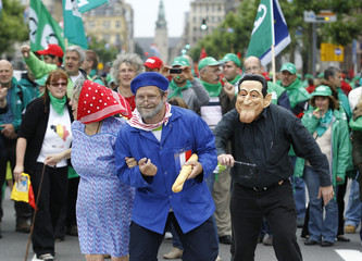 """European workers and trade union representatives take part in a """"No to austerity"""" protest to demand better job protection in Luxembourg"""