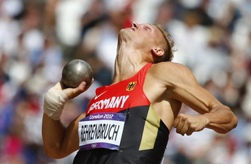 Germany's Pascal Behrenbruch competes in the men's decathlon shot put event at the London 2012 Olympic Games at the Olympic Stadium