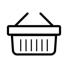 Online shopping vector icon. Black and white shopping cart illustration. Outline linear business icon.