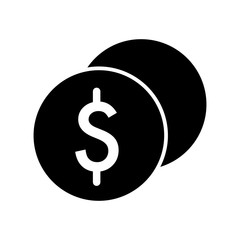 Stack of dollar coins vector icon. Black and white cash illustration. Solid linear money icon.