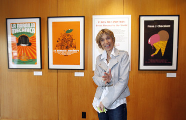 """Torres poses at a special screening of """"Strawberry and Chocolate"""" at the Academy of Motion Picture Arts and Sciences in Beverly Hills"""