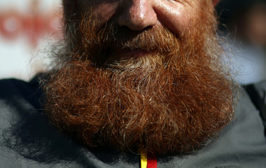 A man with a red hair beard poses during a gathering of people with red hair to celebrate World Redhead Day in Buenos Aires
