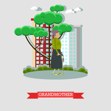 Grandmother vector illustration in flat style
